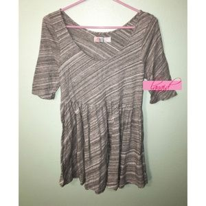 FP Striped Gray Babydoll Empire Tie Scoop Tunic M